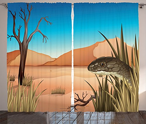 [Reptile Decor Curtains Grumpy Snake Looking From Grass At Desert Tropical Nature Poison Reptiles Wildlife Home Living Room Bedroom Decor 2 Panel Set Multi,Size:2 x 27.50