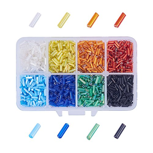Bugle Glass Bead Kit - PandaHall Elite about 3500 Pcs Lined Glass Seed Beads Bugle Space Bead 6x1.8mm for Jewelry Making 8 Colors
