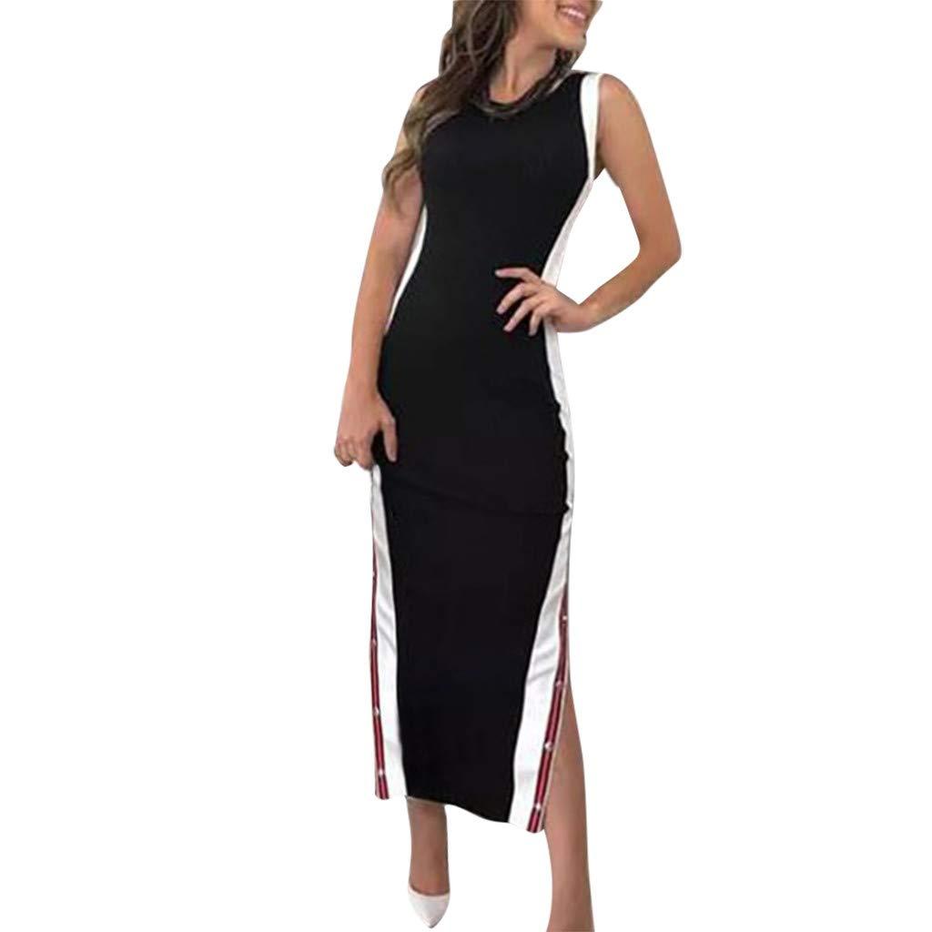 Women's Summer Fashion Pretty High Split Stripe Button Dress Black