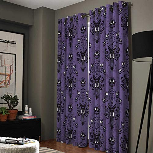 Advancey Halloween Decorations Window Curtain 2 Panels Halloween Grimace Haunted Mansion Pattern Thermal Insulated Blackout Drapes