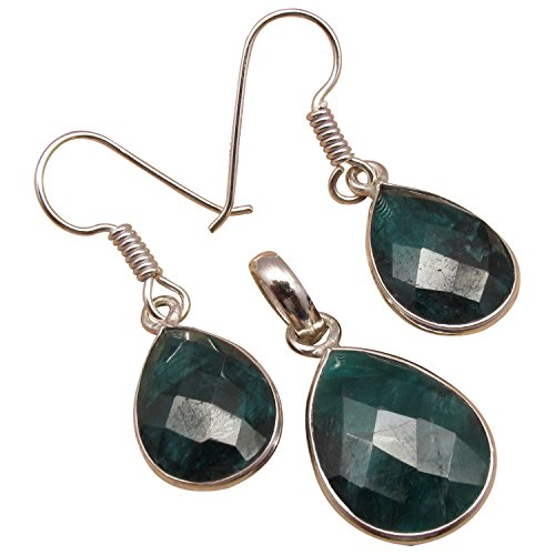 925 Sterling Silver Plated Genuine EMERALD Gemset Earrings & Pendant Jewelry SET Discount Jewelry