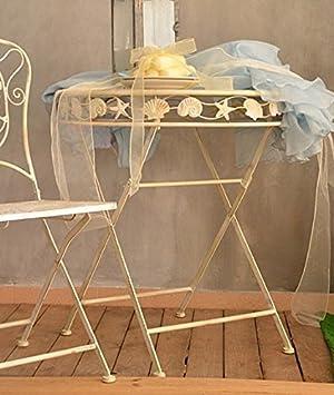 Table de jardin terrasse marine spa mer metal forge blanc ecru ...