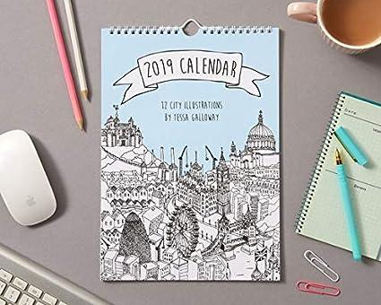 Calendario de pared 2019 City Illustrations | 2019 ...