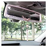 LuckySHD Car Rear View Mirror with Crystal Diamond Butterfly - White
