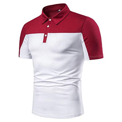 6c2d35a8 Amazon.com: Mens Color Block Polo Shirts Casual Slim Fit Basic Sport Polo T- Shirts: Kitchen & Dining