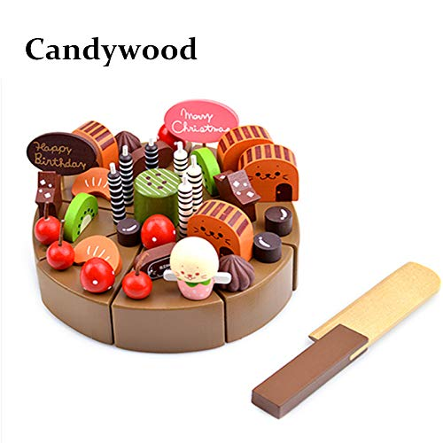 Price comparison product image Best Choise Product Kids Kitchen Toys Chocolate Birthday Cake Children Wooden Cake Food Toys Wood Puddy Pretend Toys