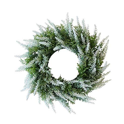 Artificial Wreath Door Wreath Lavender Spring Wreath Round Wreath Rattan Garland for Front Door Wall Mirror Window - White ()