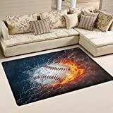 WOZO Baseball in Fire and Water Area Rug Rugs Non-Slip Floor Mat Doormats for Living Room Bedroom 60 x 39 inches