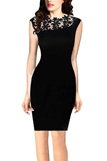 43f63355101458 Coolred-Women Bodycon Lace Trim Work Sleeveless Pencil Dress Vest Tank Black  XS