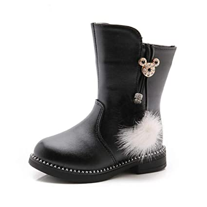 ZHRUI Winter Girls Boots Fashion Bowknot Leather Ankle Boots
