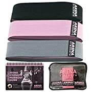 Arena Strength Fabric Booty Bands: Fabric Resistance Bands for Legs and Butt: 3 Pack Set. Perfect Workout Hip Band Resistance. Workout Program and Carry Case Included....