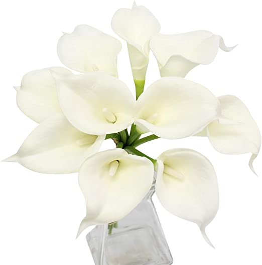 keepsake calla lily boutonniere Set of 4-Real Touch Ivory Off White