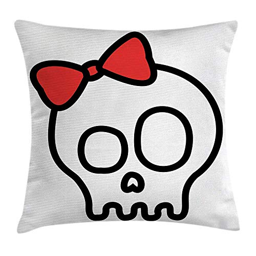 MHKLTA Skull Throw Pillow Cushion Cover, Illustration of Baby Skull Girl with Lace and Halloween Dead Head Teen Emo Art, Decorative Square Accent Pillow Case, 18 X 18 inches, Red -