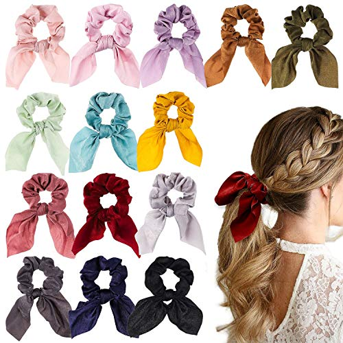 WATINC 14 Pcs Bowknot Hair Scrunchies Super Soft Silk Scarf Hair Ties 2 in 1 Design Solid Colors Scrunchie Ponytail Holder with Bows Pattern Hair Scrunchy Accessories Ropes for Women