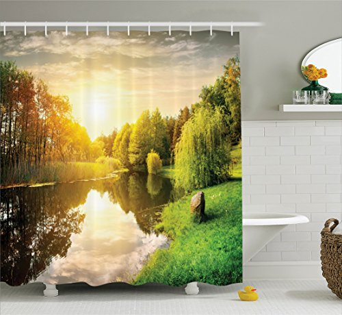 Ambesonne Lake House Decor Collection, Sunset Over Calm River Grass Willow Trees Grass Rocks Reflection Light Clouds, Polyester Fabric Bathroom Shower Curtain Set with Hooks, Green Blue White (Willow Grass)