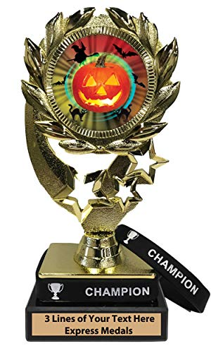 Express Medals Halloween Trophy with Removable Wearable Champion Wrist Band Marble Base and Personalized Engraved Plate