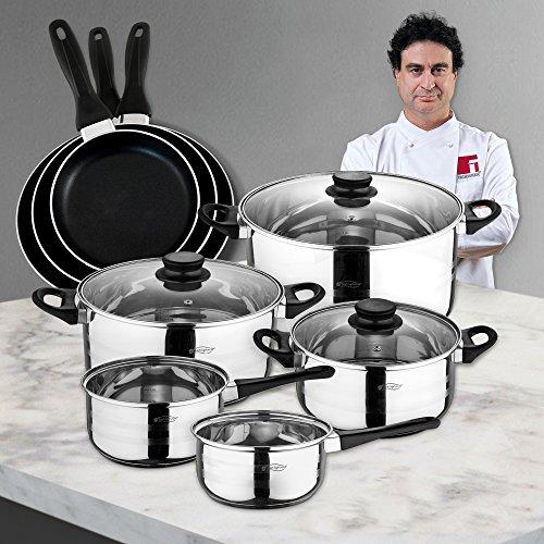 San Ignacio Juego de Sartenes y Batería de Cocina, Acero, Negro, 40 cm: Amazon.es: Hogar