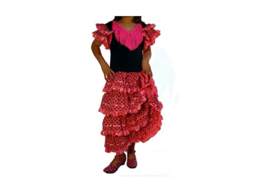 Traje de Baile Flamenco Rosa con Lunares Negros - Talla 12, Verde ...