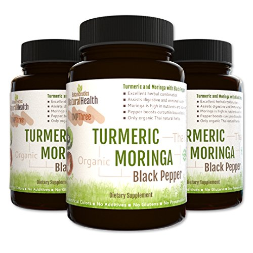 Botaniceutics Organic Turmeric, Moringa, and Black Pepper - 270 Capsules - 3 Bottle Pack - 500 Mg. No additives, no fillers. Natural turmeric curcumin, moringa, and pepperine for good health.