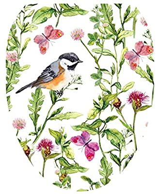Toilet Tattoos, Toilet Seat Cover Decal, Chickadee in Garden, Size Elongated