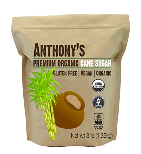 - Anthony's Organic Cane Sugar (3 lbs), Granulated, Gluten-Free & Non-GMO