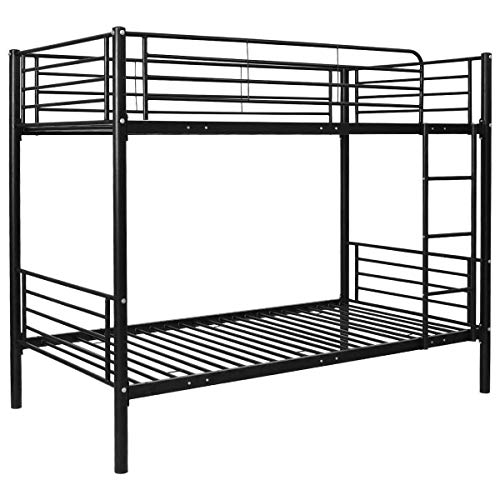 Costzon Twin Over Twin Bunk Bed, Metal Frame with Ladder for Teens Dorm Bedroom (Black) For Sale