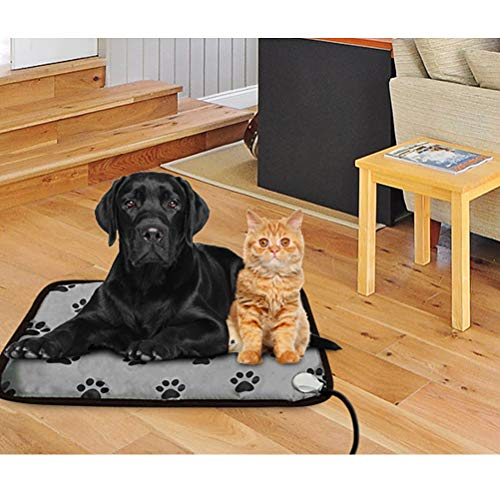 PUPTECK Pet Heating Pad for Dog Cat Electric Heated Pads - Waterproof & Chew Resistant Mat for Indoor Grey Large