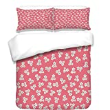 iPrint 3Pcs Duvet Cover Set,Country Home,Cute Little Daisies Bouquets Girls Bedroom Decor Freshness Pink Backdrop,Teal Pink White,Best Bedding Gifts for Family/Friends