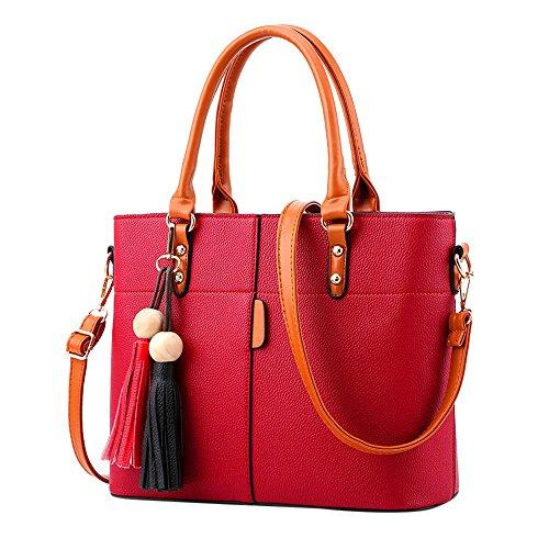 Londony Fashion Bag, Womens Handbags and Purses Handbags Ladies Shoulder Bags Designer Satchel Tote Bag Red