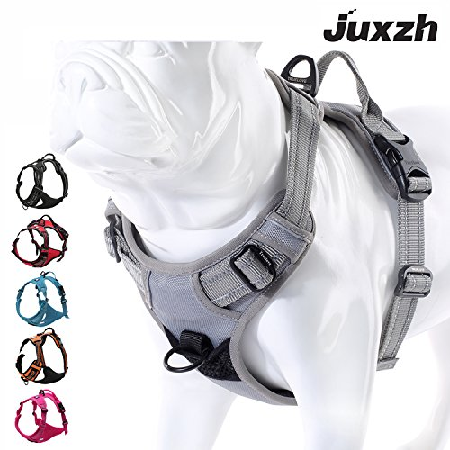(juxzh Soft Front Dog Harness .Best Reflective No Pull Harness with Handle and Two Leash Attachments)