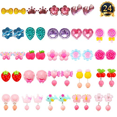 Bubble Style Earrings - HaiMay 24 Pairs Clip-on Earrings Girls Play Earrings Party Favor, All Packed in 3 Clear Boxes