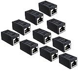 SOFT&COM RJ45 Coupler 10 Pack, Ethernet Cable Extender Adapter for Cat7 Cat6 Cat5e Ethernet Cable Coupler (Black-10 Pack)