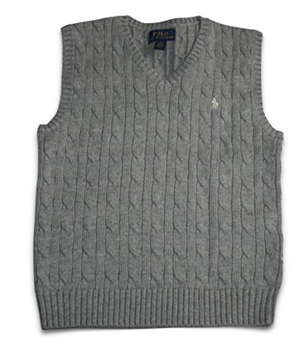 Polo Ralph Lauren Child Boys Cable Knit Sweater Vest (Size 7) Grey Gray - V-neck All Over Cable Sweater