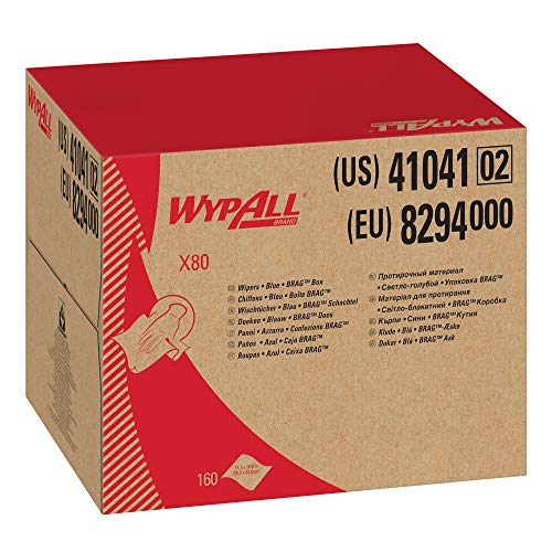 Wypall X80 Reusable Wipes (41041), Extended Use Cloths BRAG Box Format, Blue, 160 Sheets / Box; 1 Box / Case