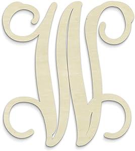 UNFINISHEDWOODCO Single Vine Unfinished Monogram W Decorative Letter, 13-Inch