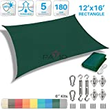 Patio Paradise 12' x 16' Sun Shade Sail with 6 inch Hardware Kit, Dark Green Rectangle Patio Canopy Durable Shade Fabric Outdoor UV Shelter Cover - 3 Year Warranty - Custom