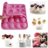 Marrywindix Silicone Cake Mold 20-cavity Half Circle Lollypop Party Cupcake Baking Mold Cake Pop Stick Mold Tray Pink