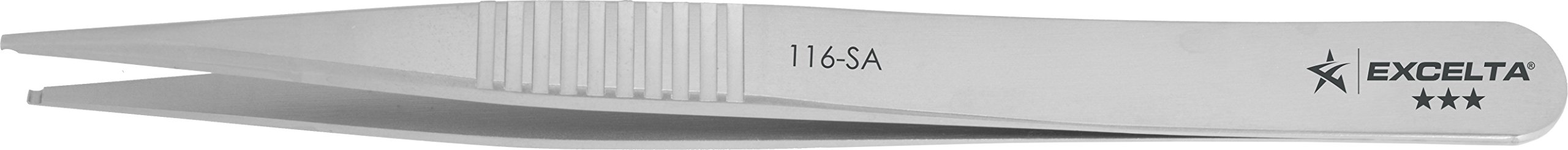 Excelta - 116-SA - Tweezers - SMD - Straight -Three Star - Anti-Mag. SS - with .04'' Groove In Tip, 0.06'' Height, 0.39300000000000002'' Wide, 4.25'' Length
