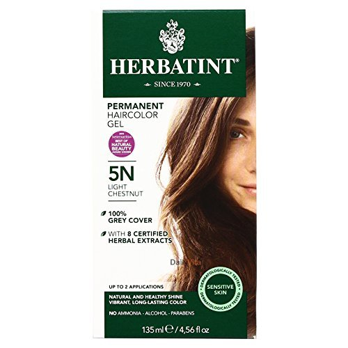 Herbatint Permanent Herbal Haircolor Gel, 5N Light Chestnut, 4.56 Ounce (60 Hair Developer)