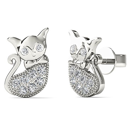 JewelAngel Women's 10K White Gold Diamond Accent Cute Cat Stud Earrings (H-I, I1-I2) by JewelAngel