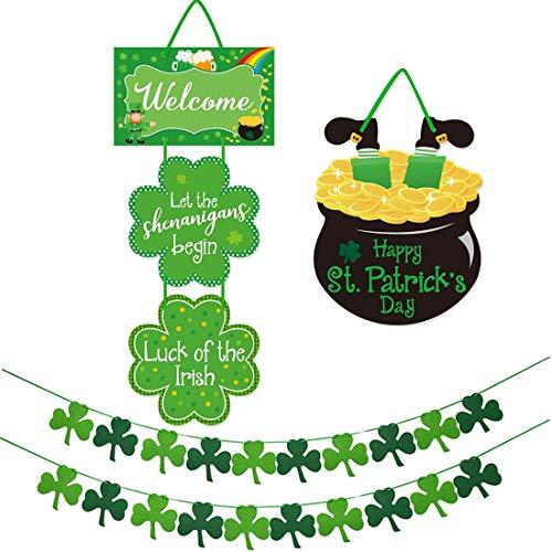 St Patricks Day Shamrock Decorations -2 Clover Garland Hanging Banners Assembled - 2 Shamrock Door Hangers (Patricks Day Garland)