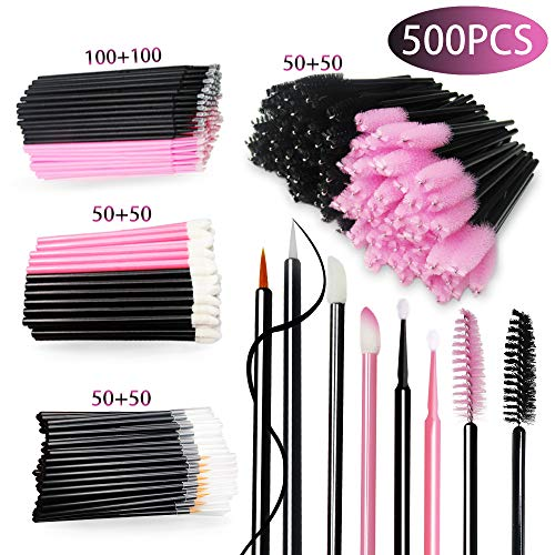 500 Pcs Disposable Makeup Applicators Mascara Wands Brushes Kit-Quewel Disposable Micro Applicators Brushes & Eyelash Brushes & Lipstick Applicators & Eyeliner Brushes