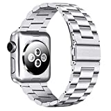 PUGO TOP Compatible with Silver Apple Watch Band 38mm 40mm Series 4/3/2/1 Stainless Steel Men Women Iwatch iPhone Watch Band. (38mm/40mm, Silver)