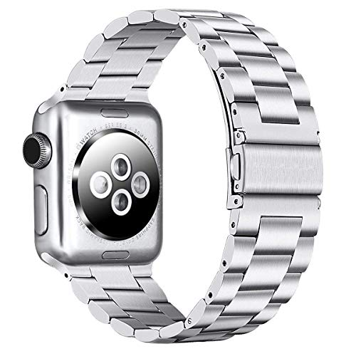 PUGO TOP Compatible with 42mm 44mm Iwatch Band Apple Watch Replacement Bracelet Link Band Series 4/3/2/1 Men Women with Classic Modern Butterfly Buckle. (42mm/44mm, Silver) ()