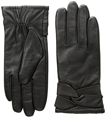 Leather Wool Gloves - YISEVEN Women's Touchscreen Lambskin Dress Leather Gloves Knot Wool Lined Luxury Stylish Elegant Warm Fleece Fur Heated Lining Winter Ladies Accessories Driving Work Xmas Gifts, Black 6.5