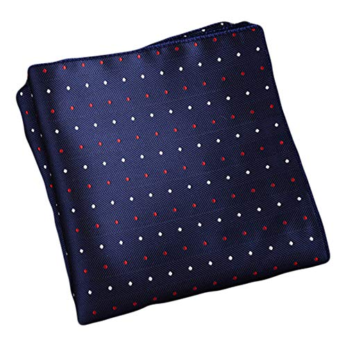 Flairs New York Gentleman's Essentials Weekend Casual Pocket Square Handkerchief (Prussian Blue/Red/White [Mini Polka Dots]) ()
