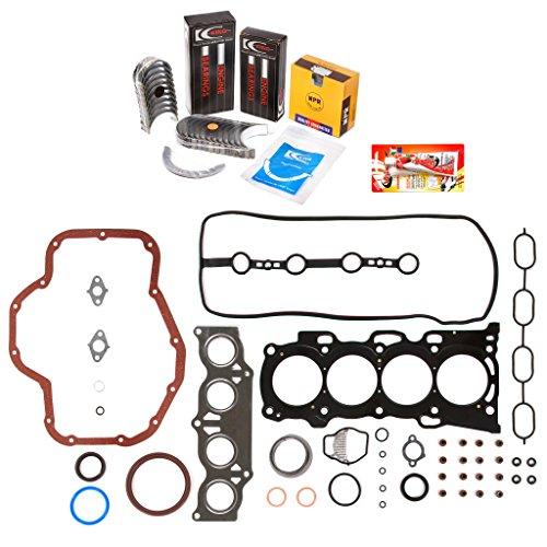 (Domestic Gaskets Engine Rering Kit FSBRR2040\0\0\0 Fits 01-05 Toyota Highlander Rav4 Solara 2.4 2AZFE Full Gasket Set, Standard Size Main Rod Bearings, Standard Size Piston Rings)