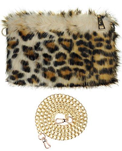 C.C Women's Evening Faux Fur Fuzzy Crossbody Shoulder Bag Clutch Purse, Leopard (Leopard Clutches)