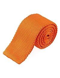 TOPTIE Men's Knit Solid Skinny Tie Polyester Square End 2 Inch Necktie Tie-Orange