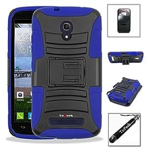 [ Alcatel One Touch Pop Mega LTE / A995L ] ToPerk (TM) Dual Layer Belt Clip Holster Armor Case with Kick Stand & Stylus Pen As Bundle Sale - Blue